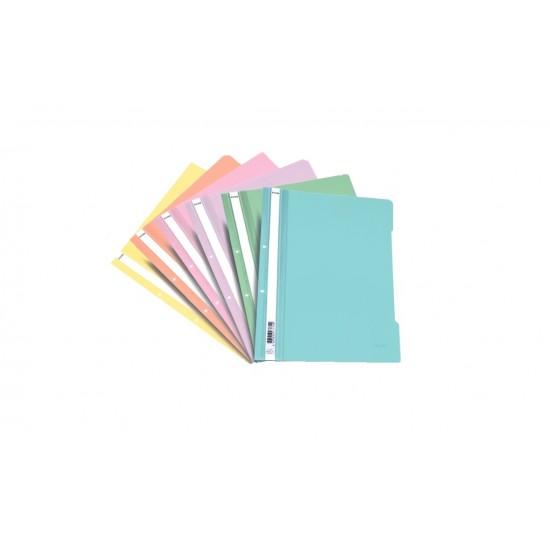 Dosar din plastic, cu sina si perforatii, EXXO PASTEL, diverse culori