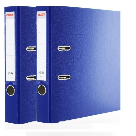 Set 2 bucati biblioraft plastifiat, Herlitz (8 cm + 5 cm), Albastru