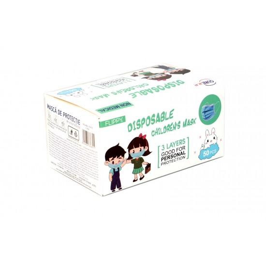 Set 50 bucati Masca de protectie faciala de unica folosinta 3 straturi, 3 pliuri pentru copii