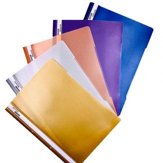 Dosar din plastic, cu sina si perforatii, EXXO METALIK, diverse culori