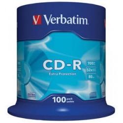 CD-R, 700MB, 52X, 100 buc/bulk, VERBATIM Extra Protection