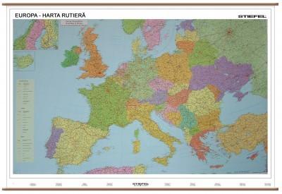Harta Plastifiata Europa Rutiera 140 X 100cm Stiefel