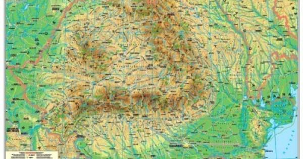 Harta Plastifiata Romania Fizica Geografica Harta Contur 160 X