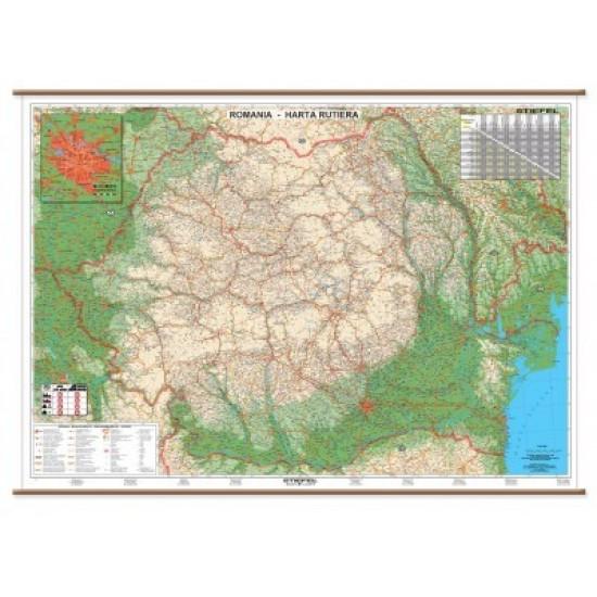 Harta Plastifiata Romania Rutiera 160 X 120cm Stiefel