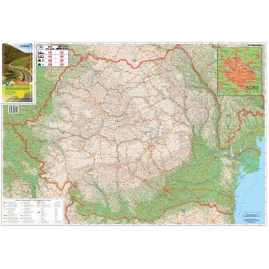 Harta Pliata Romania Rutiera Si Bucuresti Zona Centrala 100 X