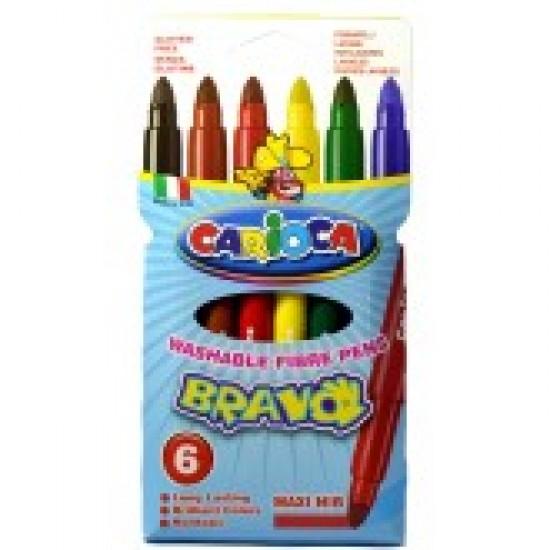 Carioca lavabila, varf gros 6mm, 6 culori-cutie, CARIOCA Bravo