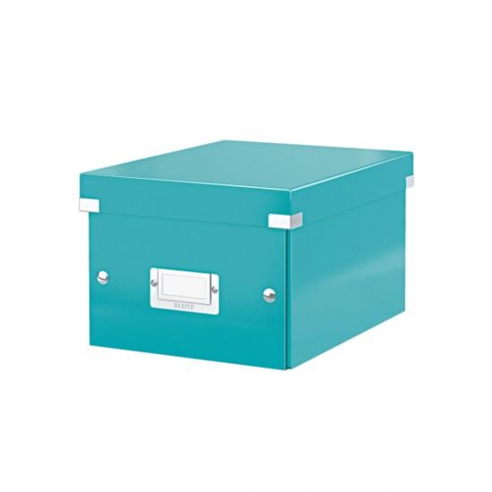 Cutie LEITZ Click & Store mica 216 x 160 x 282 mm, carton laminat - turcoaz
