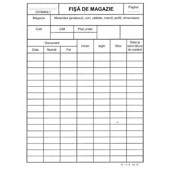 Fisa de magazie, format A5, tipar fata/verso, 150 g/mp