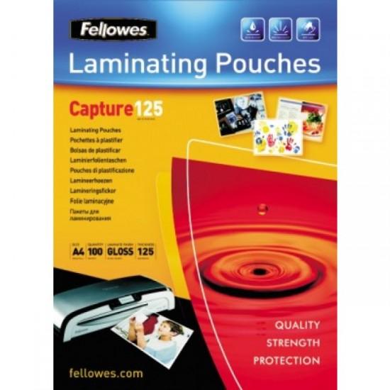 Folie laminare A2, 125 microni, 50 folii/cutie, FELLOWES Capture125
